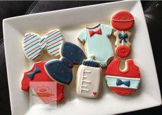 Cute boy bow tie, rattle, bottle, onesie baby shower cookies