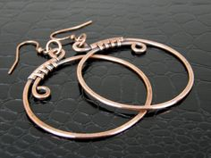 Copper Hoop Earrings Wire Wrapped Hammered and by BonzerBeads
