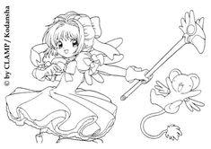 Sakura with Kereberus the card guardian coloring page. This lovely Sakura with Kereberus the card guardian coloring page is one of my favorite. Coloring Pages For Girls, Cute Coloring Pages, Coloring Sheets, Adult Coloring, Coloring Books, Cardcaptor Sakura, Kero Sakura, Power Puff Girls Z, Card Captor