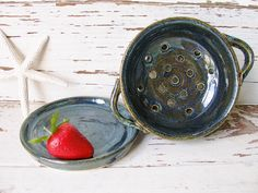 Small Colander berry bowl strainer blue green ceramic pottery handmade kitchen dish - pinned by pin4etsy.com