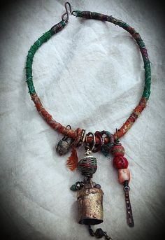 Gypsy tribal ethnic necklace silk wrapped chord with  par quisnam