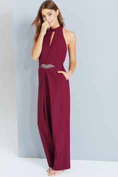 Little Mistress Maroon Embellished Jumpsuit With Keyhole