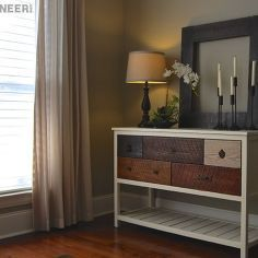 diy reclaimed wood console table, painted furniture, woodworking projects