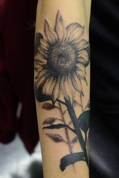 #sunflower #summer #tattoo #forearm #blackandgrey #blackandwhite #realistic