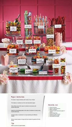 Jenny wants a Candy Bar.what is this? Jenny wants a Candy Bar.what is this? Wedding Candy Table, Candy Bar Party, Wedding Desserts, Candy Bar For Wedding, Wedding Ideas, Lolly Buffet Wedding, Sweet Table Wedding, Wedding Reception Food, Wedding Tables