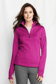 SMALL - MAGENTA - Women's Power Stretch Fleece Half-zip from Lands' End