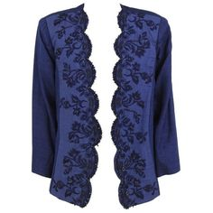 Preowned 1980s Roberto Capucci Blue Linen Beaded Jacket ($229) ❤ liked on Polyvore featuring outerwear, jackets, blazers, blue, blue blazer jacket, blue jackets, embellished jackets, blue linen blazer and vintage jackets