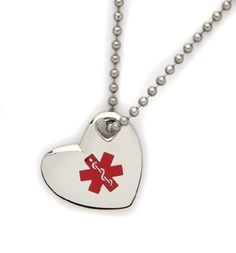 Medical Alert ID Stainless Heart Pendant Necklace from Fashion alert