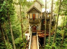 Want to live in a Castle?  You can!  Modern Medieval Castle has a Forest, Footbridge, and Lavish Decor via Trulia.