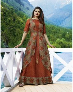 Shop now all the latest Kurti designs for women. Explore Cbazaar's huge collection of party wear and casual wear Indian Kurtis featuring a huge variety. Kurta Designs Women, Blouse Designs, Silk Kurti Designs, Fancy Kurti, Printed Gowns, Printed Silk, Kurta Neck Design, Batik Fashion, Indian Gowns Dresses