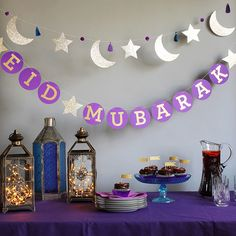 For eid and ramadan, people decorate their house with lanterns and a star and crescent. These decorations are usually lit up around the neighbourhoods to commence ramadan or eid and helps people get into the spirit of giving. Eid Moubarak, Eid Al Adha, Eid Crafts, Ramadan Crafts, July Crafts, Paper Crafts, Circle Garland, Star Garland, Fest Des Fastenbrechens
