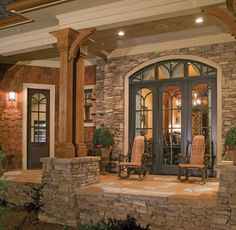 craftsman style big natural wood beams house country house plans country style home plans Craftsman Style Interiors, Craftsman Interior, Bungalow Interiors, Country Interiors, Small Porches, Screened Porches, Casas Containers, Country House Design, Country Style Living Room