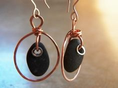 River Rock Earrings with hammered sterling silver and by ArtSimply
