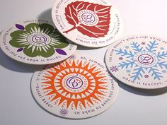 Colorful letterpress coasters