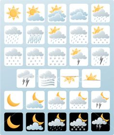 Weather icons - square format Royalty Free Stock Vector Art Illustration
