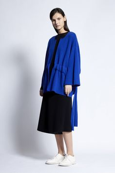Yusra Cashmere and Cotton Blend Jacket in Lapis Knit Jacket, Cotton Bag, Cashmere, Normcore, Spring, Fabric, Summer, Model, Jackets