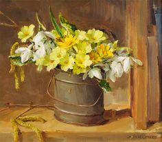 images about Anne Cotterill - Still Life on . Easy Flower Painting, Oil Painting Flowers, Oil Painting Abstract, Flower Artists, Still Life Flowers, Art Folder, Primroses, Arte Floral, Art Plastique