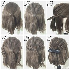 Half Up Hairstyles For Brief Hair # Hair # Coiffure # Coiffure Haircourt # Coiffure Hairlong Half Up Half Down Short Hair, Half Up Half Down Hair Tutorial, Easy Hairstyles For Long Hair, Amazing Hairstyles, Homecoming Hairstyles Short Hair, Braided Hairstyles For Short Hair, Trendy Hairstyles, Easy Elegant Hairstyles, Simple Hairstyles For School