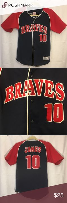 Atlanta Braves Baseball Chipper Jones Jersey #10 Atlanta Braves Baseball Chipper Jones  Short Sleeve Button Jersey #10. Women's Small. True to size. Great condition. Tops Button Down Shirts