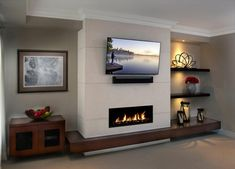 Fantastic No Cost Stone Fireplace gas Concepts Watch as Omega switches time periods with stacked stone Fireplace Mantels Gas Fireplace Mantel, Stone Mantel, Linear Fireplace, Fireplace Remodel, Modern Fireplace, Living Room With Fireplace, Fireplace Design, Home Living Room, Living Room Designs