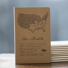 """The MADE SOUTH Notebook is made by hand in Louisiana. It has a letterpress cover featuring interesting and fun facts about the American South. Size is 4.5"""" x 7"""". 72 recycled, unlined pages."""