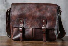 Handmade leather men satchel bag messenger large vintage shoulder laptop bag vintage bag