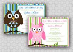 Owl Baby Shower Invitation - Look Whoos Having a Baby  - Stripes  - girl or boy - printable invitations