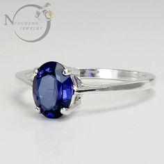 argent saphir anneaux de bleu saphir bijoux de saphir bleu argent fines rondelles beau bleu bleu naturelle ring silver ring fine