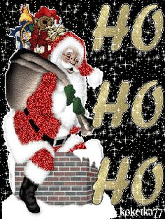Santa Going Down The Chimney Father Christmas, Christmas Wishes, All Things Christmas, Christmas Crafts, Christmas Decorations, Christmas Scenes, Christmas Animals, Christmas Pictures, Xmas Gif