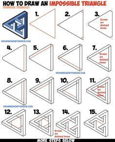 How do you draw an impossible triangle (Penrose Triangle) that looks Celtic woven? Easy Step by Step Drawing Tutorial, How do you draw an impossible triangle (Penrose Triangle) that looks Celtic woven? Easy Step by Step Drawing Tutorial, 3d Art Drawing, Geometric Drawing, Drawing Tips, Geometric Shapes, Geometric Designs, Manga Drawing, Drawing Ideas, Easy 3d Drawing, Sketch Ideas