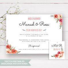 invitación de boda rústica Rosa. Plantilla para crear tus invitaciones de boda. Cambia los textos e imprímela fácilmente.