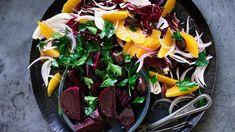 Beetroot, orange and olive salad