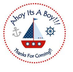 Personalized Ahoy Its A Boy Sailboat Sticker, Birthday Sticker, Favor Tag, Thank You Sticker