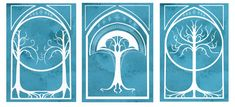 Trees of Middle Earth - 5x7 Print set featuring Tolkien Tree Motifs on Etsy, $21.00