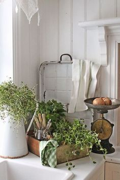 Flea Market Finds For A Farmhouse Kitchen...I love the use of herbs to add freshness!