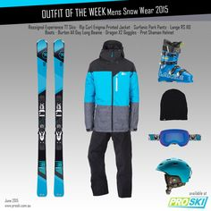 OUTFIT OF THE WEEK - Mens Snow Wear 2015 available at PROSKI www.proski.com.au #skis #snowgear #outfitoftheweek #ootd #rossignol #lange #surfanic #ripcurl #dragon #pret #burton