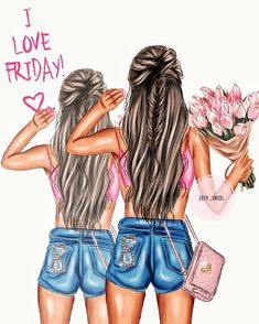 Mother Daughter Art, Watercolor Girl, Magic Art, Illustration Artists, Black Girl Magic, Happy Friday, Persona, Cute Pictures, Bff
