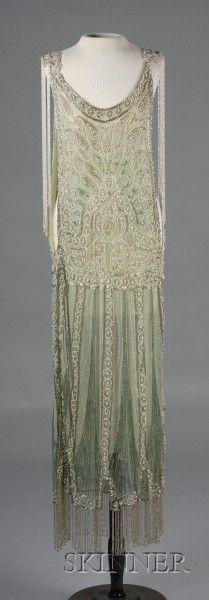 1920s Beaded Green Silk Net Lace Jerkin Dress