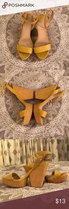 Yellow heels Yellow ankle strap sandal block heels!Very durable and in good condition! Xhilaration Shoes Heels