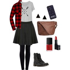 """""""Skater Skirt and Plaid"""" black skater skirt, gray tee, red and black plaid flannel, black tights, black combat boots, brown leather bag, red lipstick, red nail polish, black triangle earrings, starry night phone case."""
