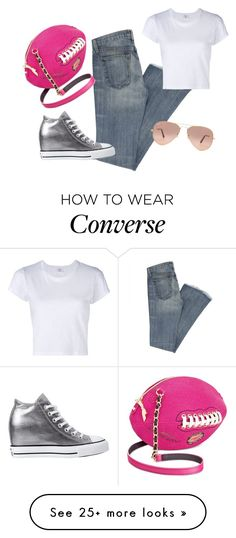 """""""This girl loves football"""" by sassyladies on Polyvore featuring Betsey Johnson, RE/DONE, Converse and Ray-Ban"""