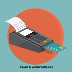 Credit card machine vector image business and finance vectors.