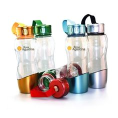 24 oz Clear PETG plastic bottle with colored cap and metallic coated finish. Matching detachable fabric strap and buckle. $4.25