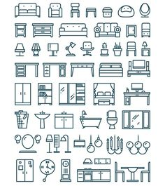 Furniture & sanitary thin line icons - Graphics
