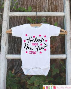 First New Years Outfit - 2016 Happy New Years Eve Onepiece - Personalized First Holiday - 1st New Year Bodysuit for Baby Girls - Pink Black