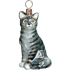 Amazon.com: American Shorthair Gray Sitting Cat Polish Glass Christmas Ornament…