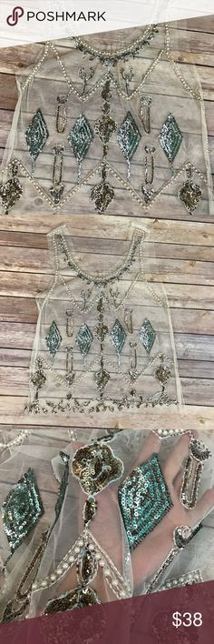 Sheer Tank Sequin Appliqués Faux Pearls Gorgeous! Classy beautiful great for layering.  loose fit Small.   New without tags. Tops Blouses