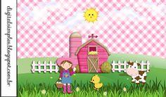 Kit Aniversário Fazendinha para Menina Rosa, gratuito para Imprimir, rótulos,convite, etc... Farm Birthday Cakes, 3rd Birthday Parties, Farm Animal Party, Farm Party, Cradle Ceremony, Cowgirl Party, Cricut Cards, Printable Crafts, Animal Birthday