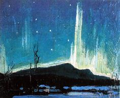 Northern Lights, 1917 by Tom Thomson Tom Thomson, Canadian Painters, Canadian Artists, Group Of Seven Artists, Art Gallery Of Ontario, Beauty In Art, Canoe Trip, Sky And Clouds, Landscape Paintings