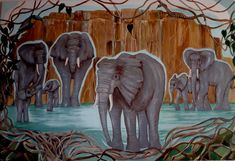 "Elephant Card "" Elephant Family"" Wildlife Card. Greetings Card. Gift Card. Large Blank Card. From Astrocards-gifts."
